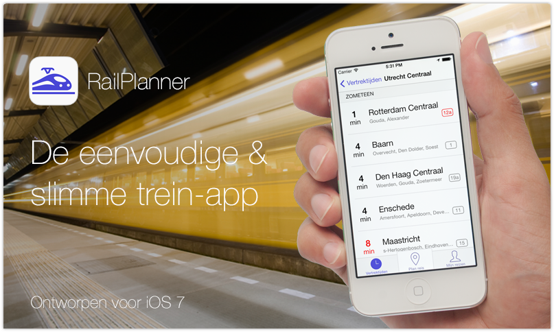 RailPlanner trein app voor iPhone